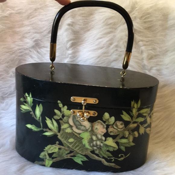 SALE. Handmade Decoupage Black Wood 👜 Handbag